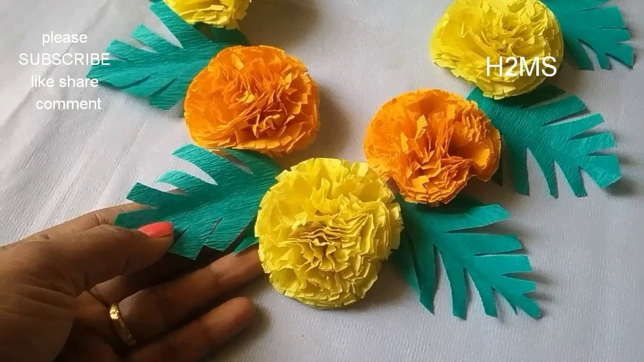 How To Make Simple Eco Friendly Garland For Lord Ganesh L Marigold Flowers With Crepe Paper Easy Diy