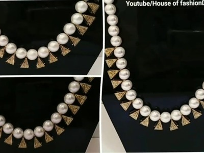 How To Make Simple Pearl Necklace.Antique Necklace at home. !