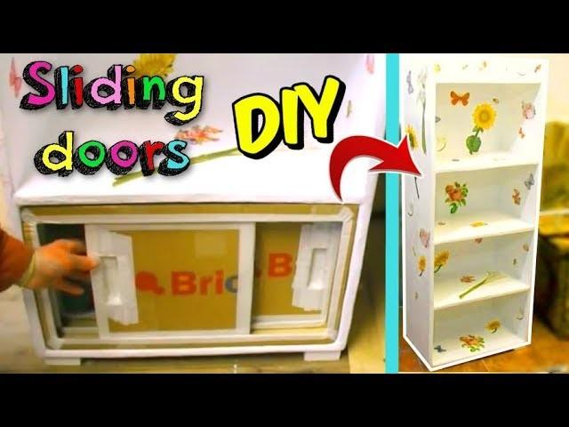 How to make SLIDING DOORS  for any CARDBOARD FURNITURE or cardboard shelf