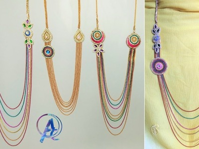 How to make step chain necklace | how to make necklace at home | silk thread step chain making