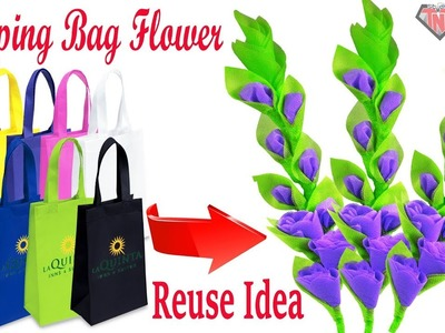 How to make stick flower using waste shopping bags || Best out of waste easy Craft