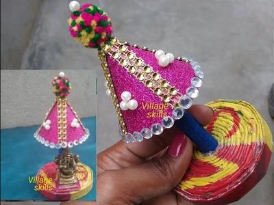 How to make very easy Ganesh Umbrella ,handmade, Lord Ganesh simple Makhar with umbrella ,New DIY