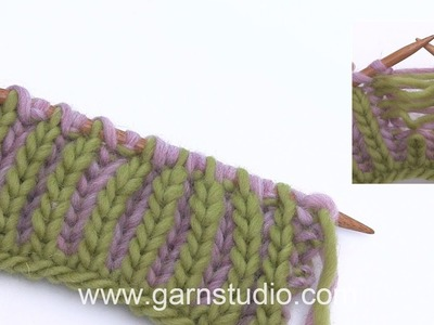 How to pick up a dropped stich knitted in English rib in tow colours