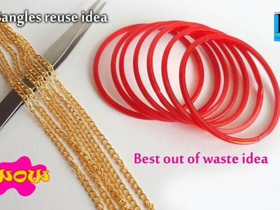 How to reuse old bangles at home | colourful silk thread bangles making tutorial
