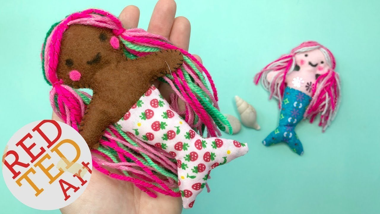Mini Mermaid Doll DIY - Felt Mermaid Doll Pattern -  How to Sew a Felt Doll