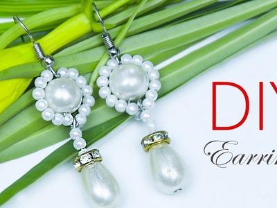 NEW- How to make pearl earrings in 2minute | घर पर मोती की बाली बनाइये | Bead art