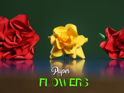 Paper Flowers | How To Make Rose Flowers With Color Papers | Paper Girl