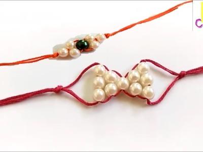 Rakhi | 2 easy pearl beaded rakhis | rakhi making | Rakshabandhan | How to make rakhi at home