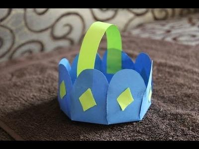 DIY - How To Make Paper Flower Basket - DIY Flower Shaped Paper Basket for Occasion
