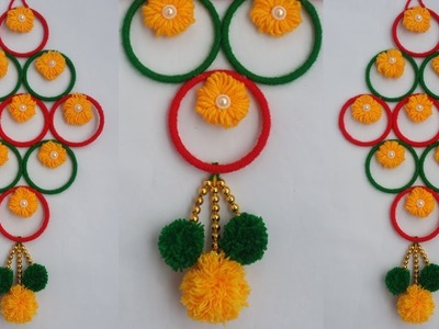 DIY: Old Bangles Reuse Idea!!! How to Make Beautiful Woolen & Bangles Hanging For Home Decoration!!