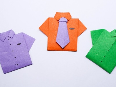 Easy Origami Paper shirt and tie - How to Make Paper shirt and tie Step by Step