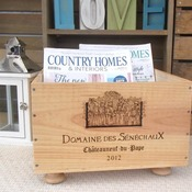 French wooden wine box magazine rack