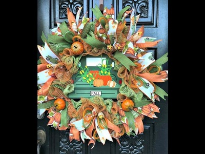 How to make a Fall Wreath with poof Ruffle and rolls.