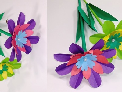 How to Make Easy Making Paper Stick Flower at Home | Paper Flowers | Jarine's Crafty Creation