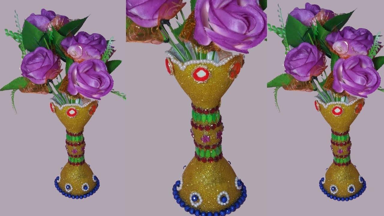 How to make flower vase with plastic bottle   best out of waste plastic bottle   dustu pakhe