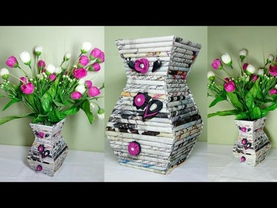 How to make Flower vase with Newspaper ll DIY home decor ll Handmade vase