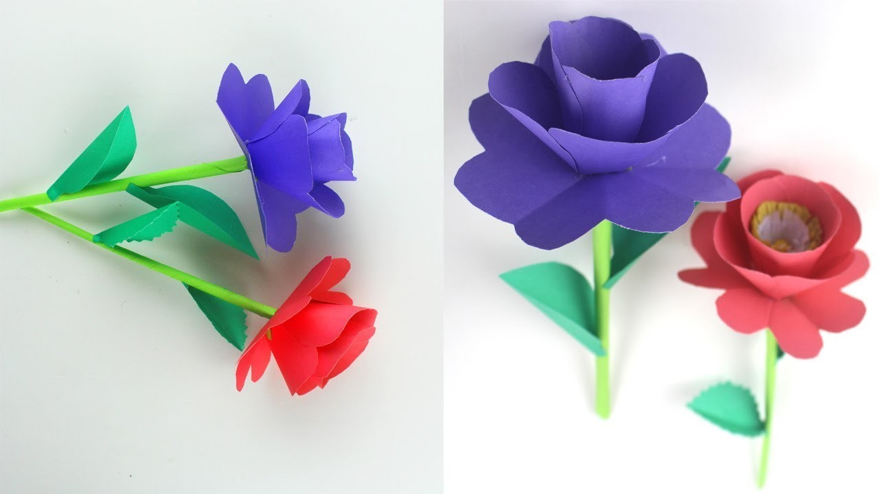 How To Make Paper Stick Flower | Beautiful & Pretty Stick Flower Making Step By Step