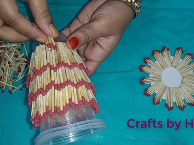 How to make pen stand with matchbox | Matchstick craft idea | Crafts by Happy