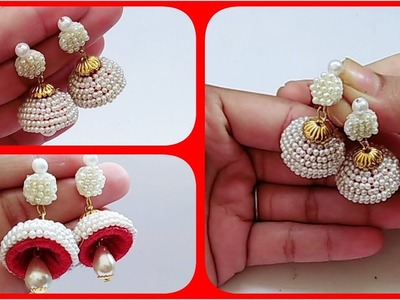 How To Make Silk Thread  Pearl Earrings.Pearl Jumkas