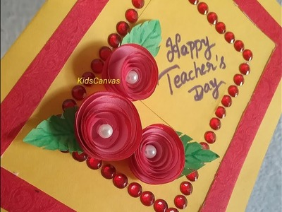 How to make teacher's day greeting card at home l DIY 3d roses greeting card ,children's day special
