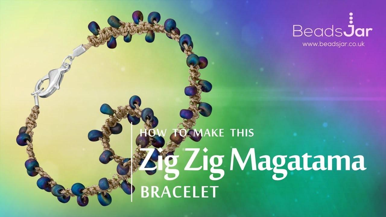 How to make this Zig Zag Magatama bracelet   Seed Bead design