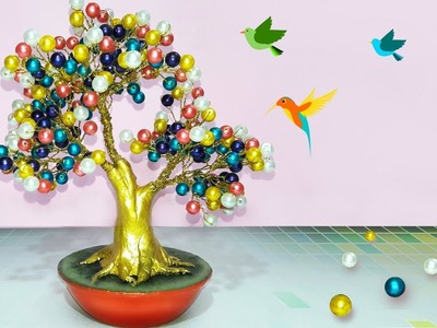 How to make tree with Pearl,Wire | how to make artificial bonsai tree at home | Pearl tree tutorial.