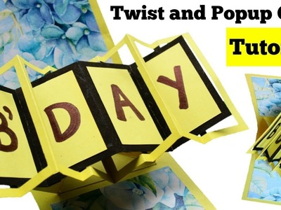 How to make Twist and Pop up Card | Handmade Birthday Card Tutorial | Pop up Birthday Card |