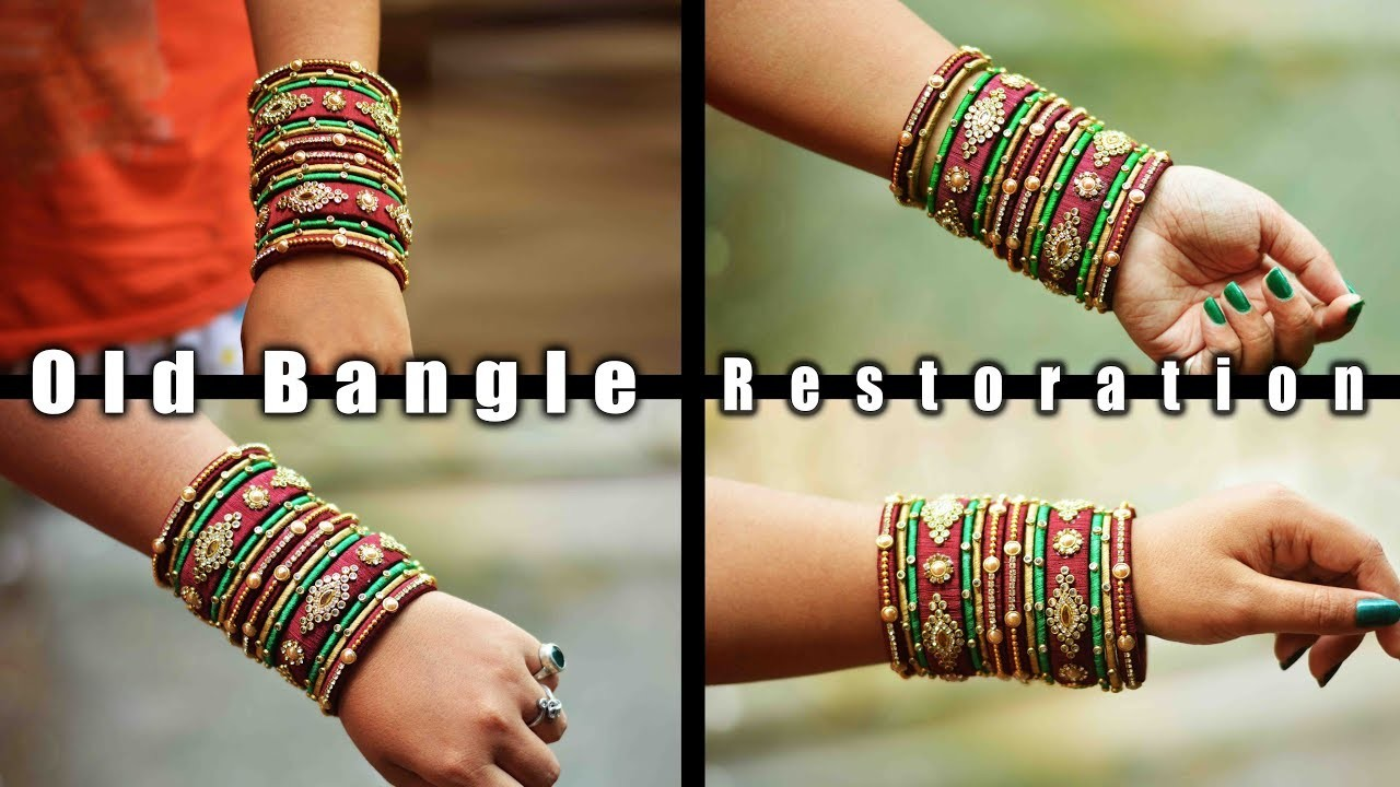 How to reuse old bangles at home | colorful silk thread bangles | art with creativity