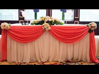 How To Swag Table and decorate with flowers. Table Cloth Decoration ( Tutorial )