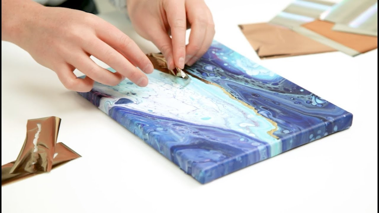 Learn how to add gold foil to Color Pour paintings