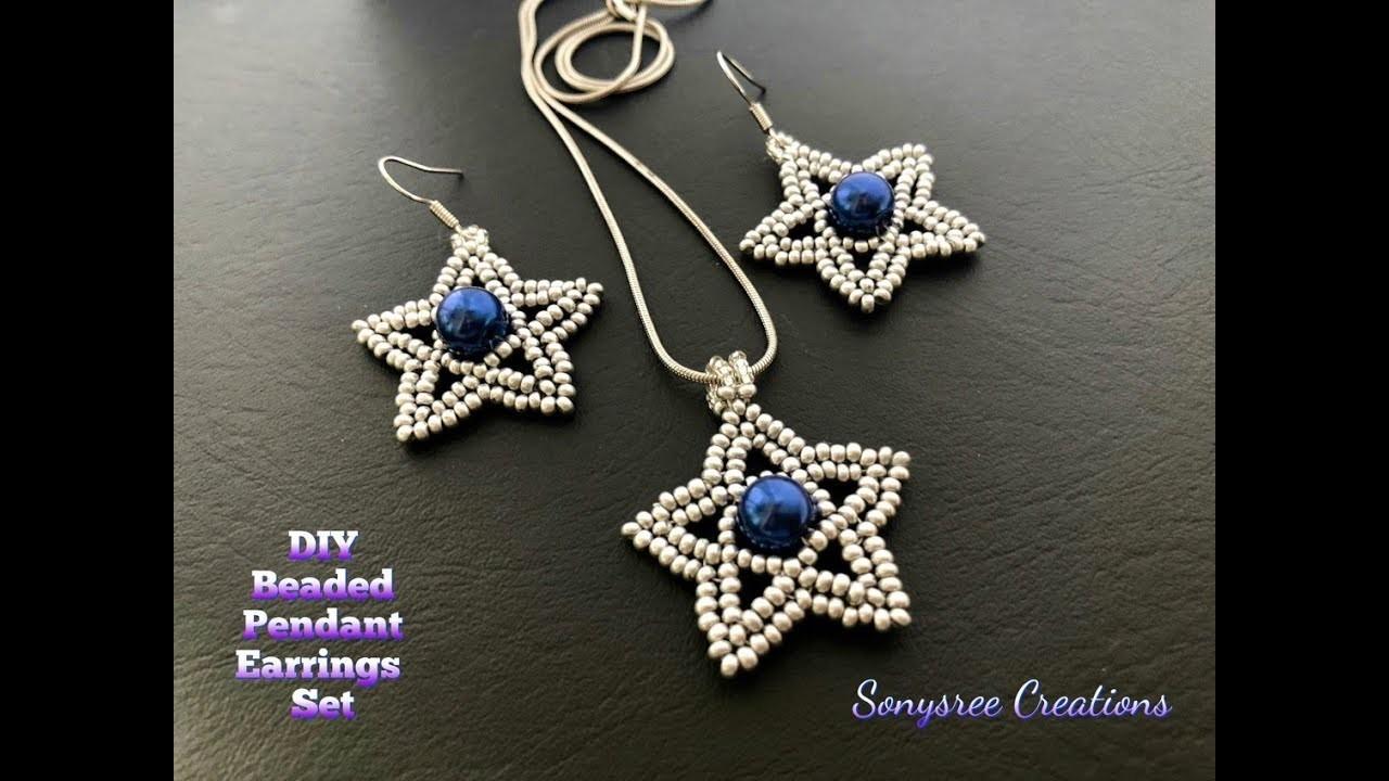 Silver Stars Set. Beaded Pendant Earrings Set.How to make beaded earrings & pendant