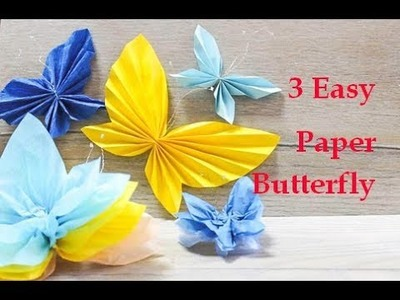 3 Easy Paper Butterfly Origami. Easy template for all size. おはながみ
