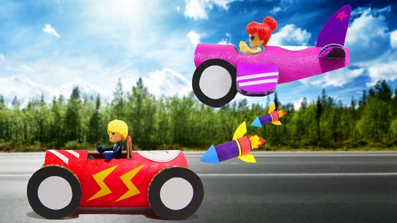 3 Ways To Recycle Toilet Paper Rolls To Make Car Airplane And Spaceship For Kid Playing