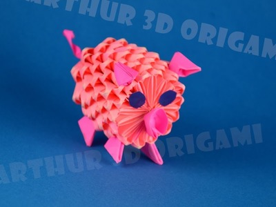 3D Origami pig from pieces of paper ♡ DIY How to make a funny piggy (piglet)