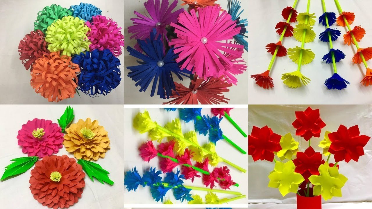 6 Simple Paper Flowers Easy Paper Flower Making Paper Crafts Diy