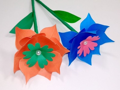 Beautiful Stick Flower with Paper!! DIY Paper Stick Flower Step By Step | Jarine's Crafty Creation