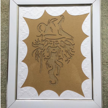 Cardboard Relief Picture Art of a Wizard Framed