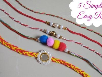 DIY 5 Easy Rakhi Ideas.How to make Rakhi.Rakhi for Kids School Competition.Rakhi for Rakshabandhan