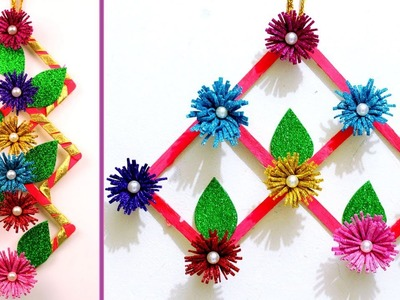 DIY Best Out Of Waste Wall Hanging Idea 2018 - DIY Room Decor Idea - Popsicle Sticks Craft Ideas