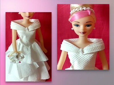 DIY doll dress with tissue paper. ????diy barbie doll dress. doll makeover