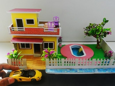 DIY Dollhouse With Swimming Pool - Miniature Crafts With Paper and Cardobard