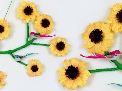 DIY Home Decor Paper Flower Showpiece || Paper Sunflower Making at Home || Handmade Craft Ideas