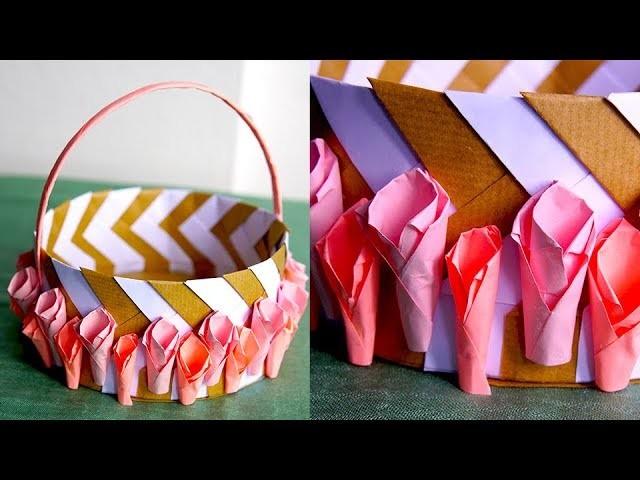 DIY, How to make paper basket   کاردستی ساخت سبد کاغذی