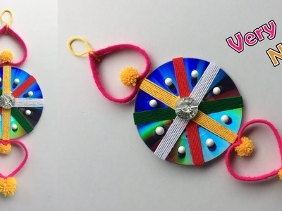 DIY How to Reuse Old Waste CD and Plastic Bottle Wall Hanging | Woolen Jhumar.craft idea out of wool