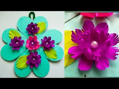 Diy paper flower wall hanging.Simple and beautiful wall hanging.Wall decoration by KovaiCraft #41