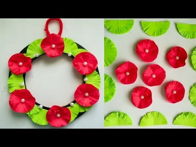 Diy paper flower wall hanging.Simple and beautiful wall hanging.Wall decoration by KovaiCraft #44