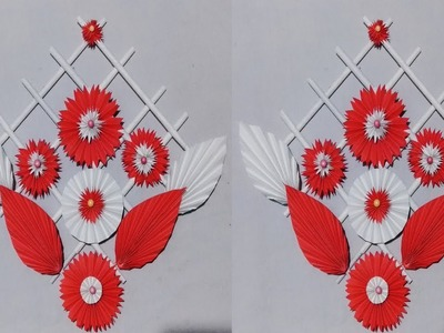DIY: paper flower wall hanging | Wall Decoration| diy art and craft.best out of waste.Creative Art