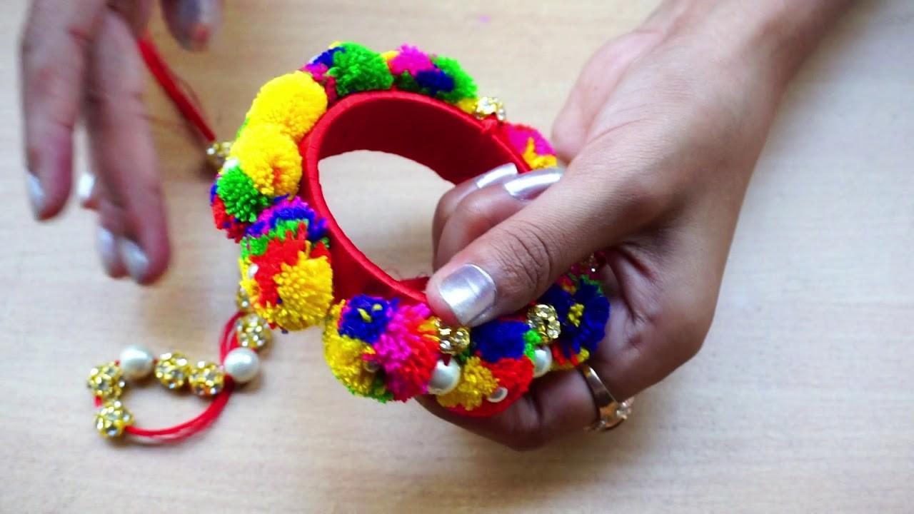 DIY | Pom pom Rakhi | How to make Rakhi for Bhaiya & Bhabhi at Home | Silk Thread Rakhi | ARZOO VLOG