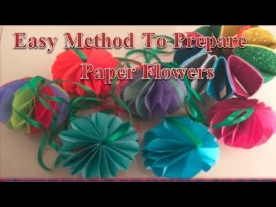 Easy method to prepare paper flowers at home, Ganapti flower decoration ideas