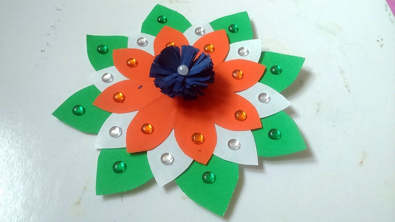 Easy Paper Flower For Independence Day Decoration 15 August Decor